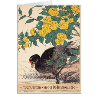Cormorant and Kerria Rose Flower and Bird Painting Card