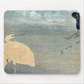 Cormorant and white heron by Kitagawa, Utamaro Mouse Pad