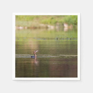 Cormorant bird swimming peacefully disposable napkins