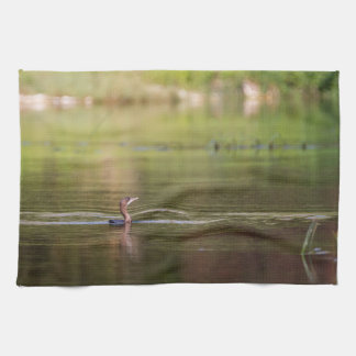 Cormorant bird swimming peacefully kitchen towel