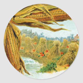 Corn and Pumpkins Vintage Thanksgiving Classic Round Sticker