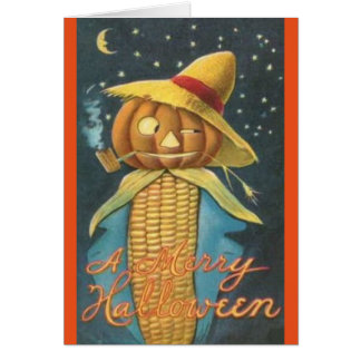 Corn Cob Farmer Vintage Halloween Greeting Card