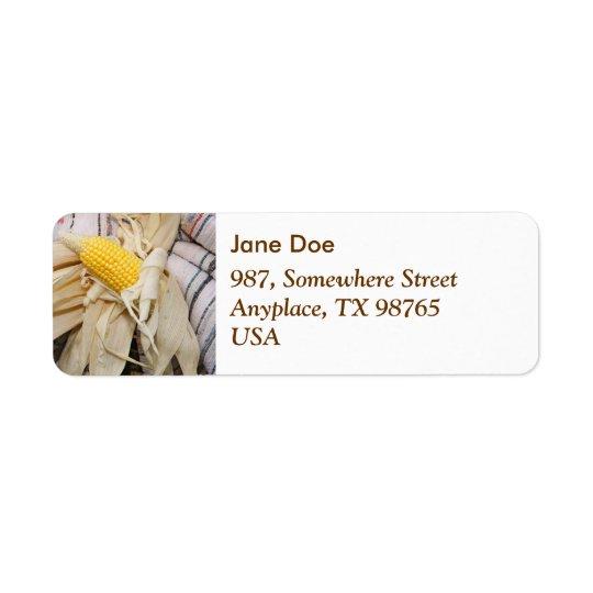 Corn cob return address label