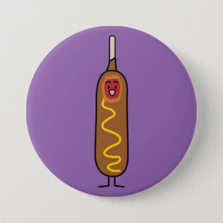 corn dog corndog mustard deep-fried sausage dogs 3 inch round button