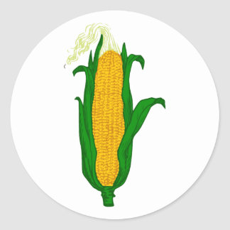 Corn ear of corn corn cob classic round sticker