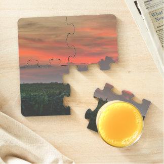 Corn Field at Sunset Puzzle Coasters Drink Coaster Puzzle