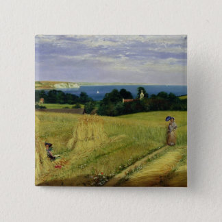 Corn Field in the Isle of Wight 2 Inch Square Button