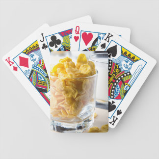 Corn flakes and glass of milk bicycle playing cards