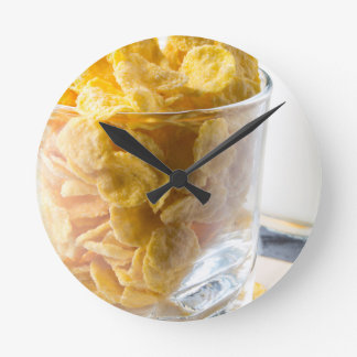 Corn flakes and glass of milk clocks
