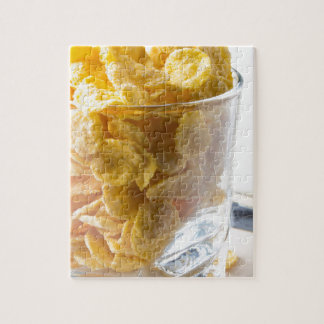 Corn flakes and glass of milk jigsaw puzzle