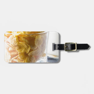 Corn flakes and glass of milk luggage tag