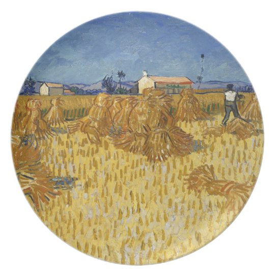 Corn Harvest in Provence by Vincent Van Gogh Plate