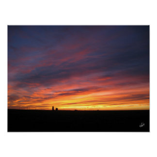 Corn Harvest Sunrise Poster