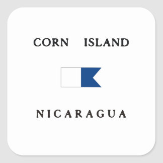 Corn Island Nicaragua Alpha Dive Flag Square Sticker