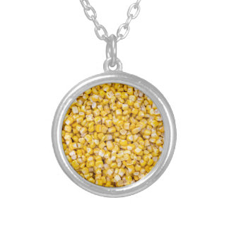 Corn macro as background structure silver plated necklace