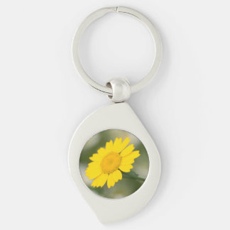 Corn Marigold Silver-Colored Swirl Keychain