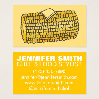 Corn on the Cob Chef Cook Restaurant Caterer Food Business Card