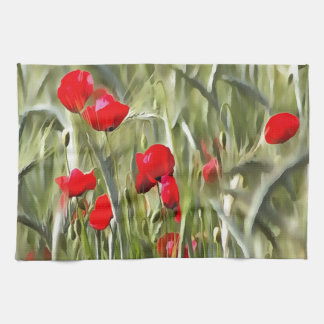 Corn Poppies Hand Towels