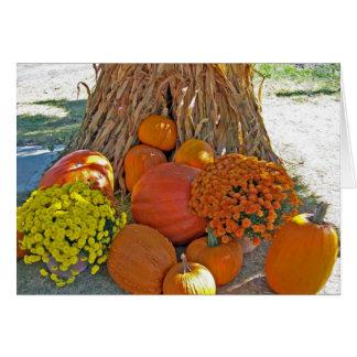 Corn Pumpkins Happy Thanksgiving Greeting Card