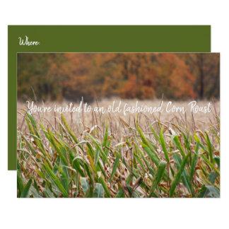 Corn Roast, Autumn Cornfield Sweet Corncobs Card