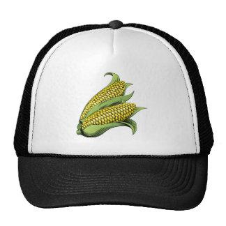 Corn vintage woodcut illustration mesh hat