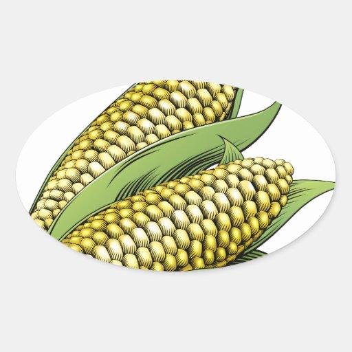 Corn vintage woodcut illustration stickers