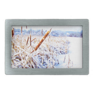 Corndog in the snow rectangular belt buckles