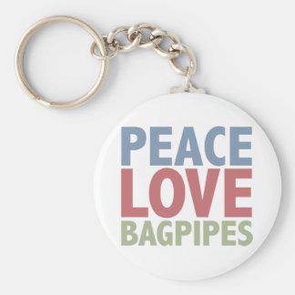 Cornemuses d'amour de paix porte-clé rond