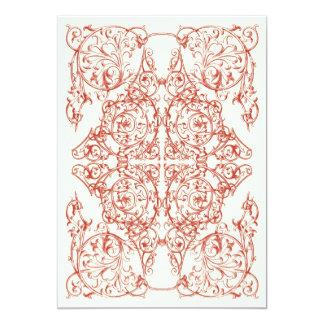 Corner Flourish Wedding Invitation (Crimson Red)