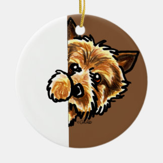 Corner Norwich Terrier Ceramic Ornament