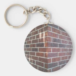 Corner of a Red Brick Building. Basic Round Button Keychain