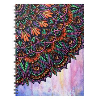 Corner Sunset Mandala Over Watercolor Notebook