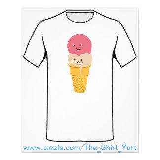 Cornet de crème glacée heureux et triste prospectus avec motif