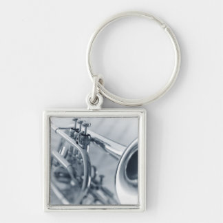 Cornet on Music Sheets Keychain