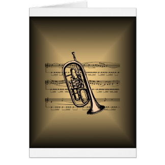 Cornet With Sheet Music Background Card