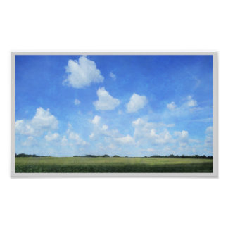 Cornfield and Blue Sky Poster