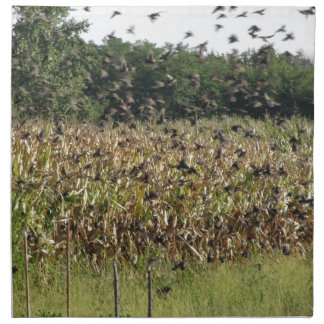 Cornfield and common starlings cloth napkin