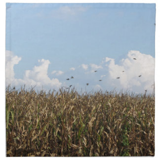 Cornfield and swallows printed napkins