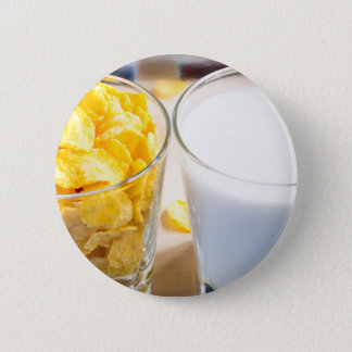 Cornflakes and milk for breakfast 2 inch round button