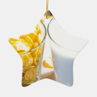 Cornflakes and milk for breakfast ceramic ornament