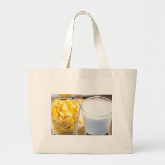 Cornflakes and milk for breakfast large tote bag