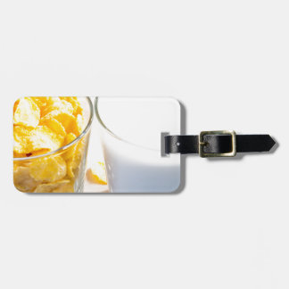 Cornflakes and milk for breakfast luggage tag