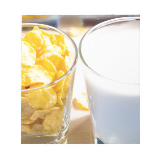 Cornflakes and milk for breakfast notepad