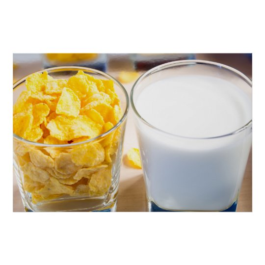 Cornflakes and milk for breakfast poster