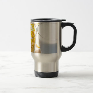 Cornflakes and milk for breakfast travel mug