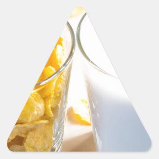 Cornflakes and milk for breakfast triangle sticker