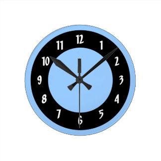 Cornflower Blue and Black Circles Round Clock