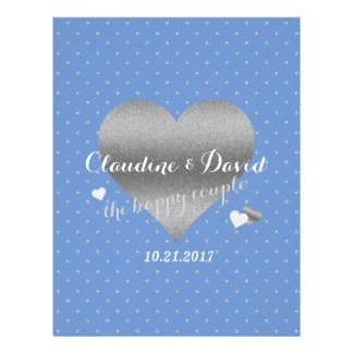 Cornflower Blue And Silver Polka Dot Wedding Flyer
