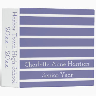 Cornflower Blue and White Stripes Personalized 3 Ring Binders