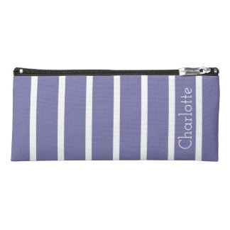 Cornflower Blue and White Stripes Personalized Pencil Case